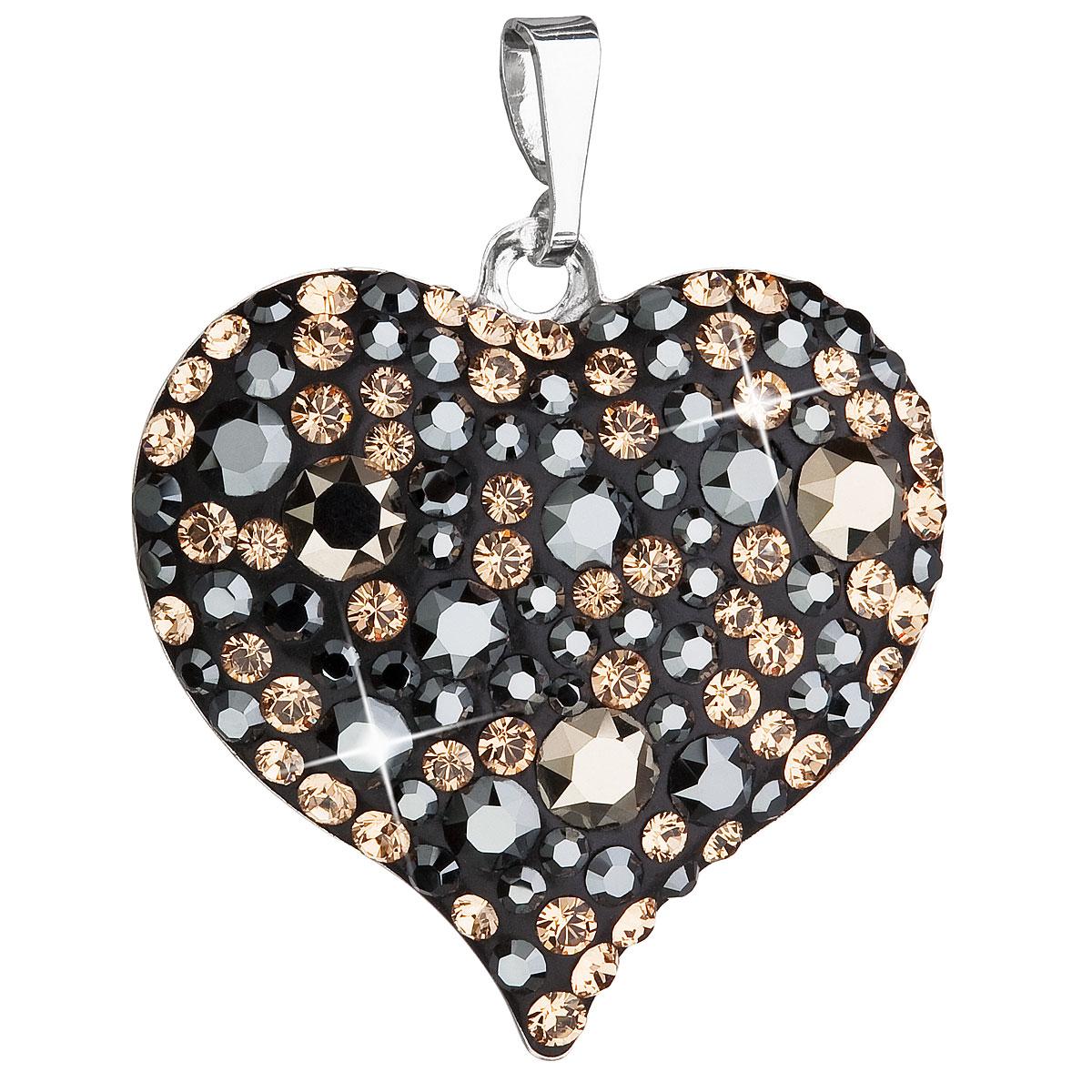 Evolution Group Stříbrný přívěsek s krystaly Swarovski mix barev srdce 34181.4
