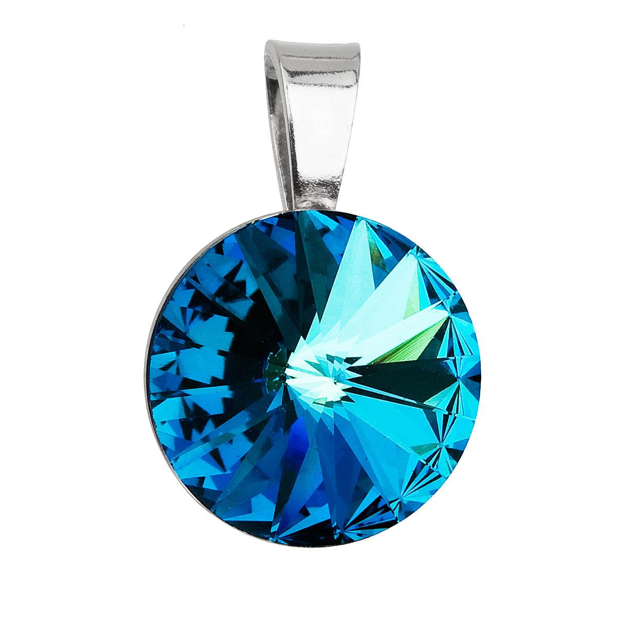 Evolution Group Stříbrný přívěsek s krystaly Swarovski modrý kulatý-rivoli 34112.5 bermuda blue