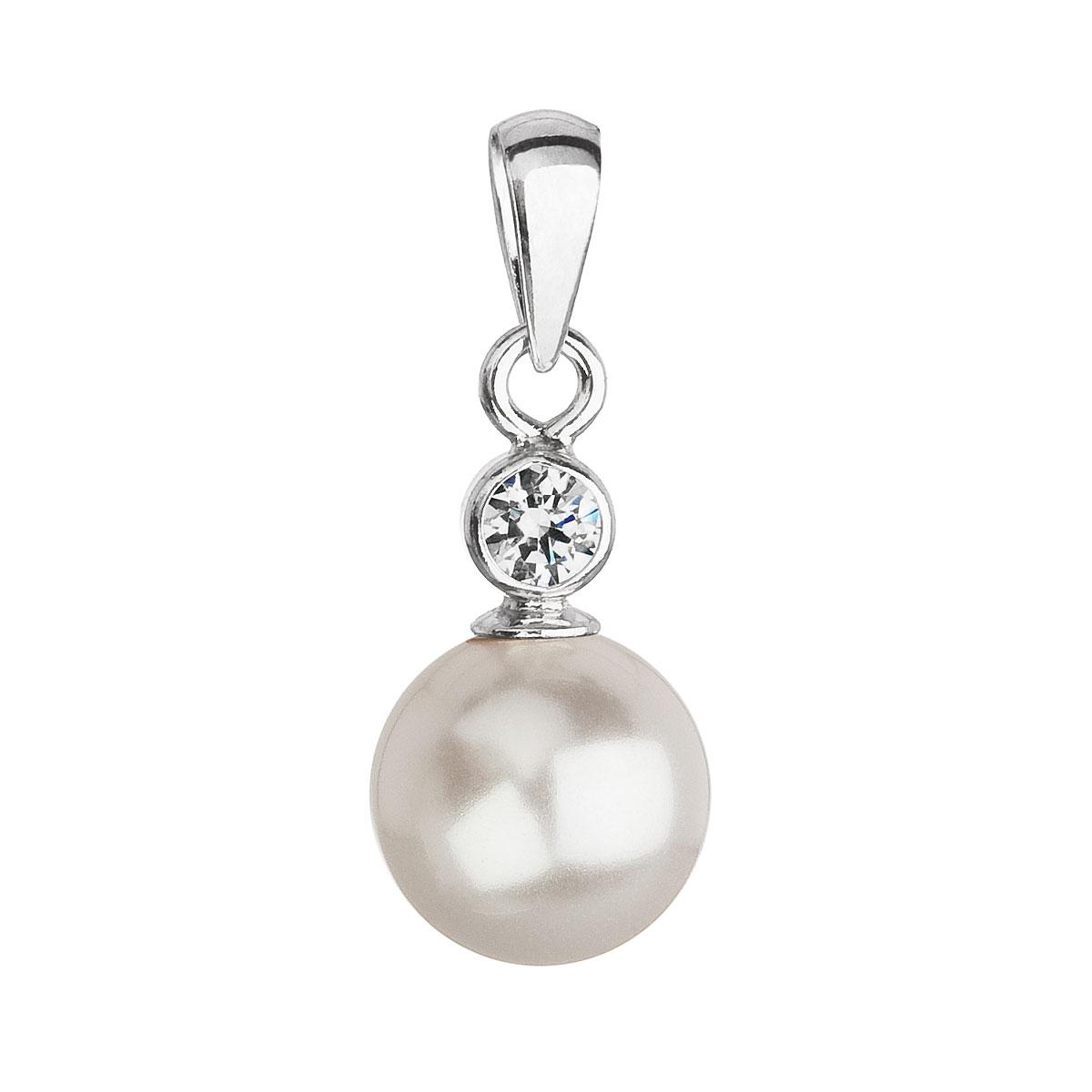 Evolution Group Stříbrný přívěsek s krystalem Swarovski a bílou kulatou perlou 34201.1