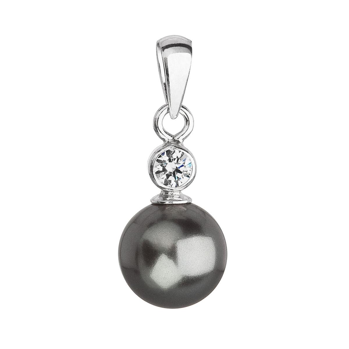 Evolution Group Stříbrný přívěsek s krystalem Swarovski a šedou kulatou perlou 34201.3, dárkové balení