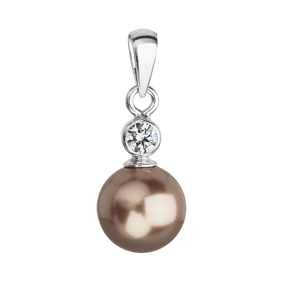 Evolution Group Stříbrný přívěsek s krystalem Swarovski a hnědou kulatou perlou 34201.3, dárkové balení