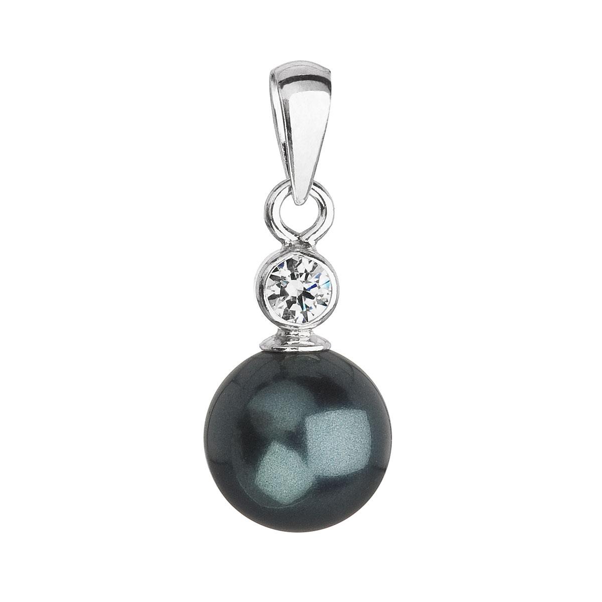 Evolution Group Stříbrný přívěsek s krystalem Swarovski a zelenou kulatou perlou 34201.3, dárkové balení