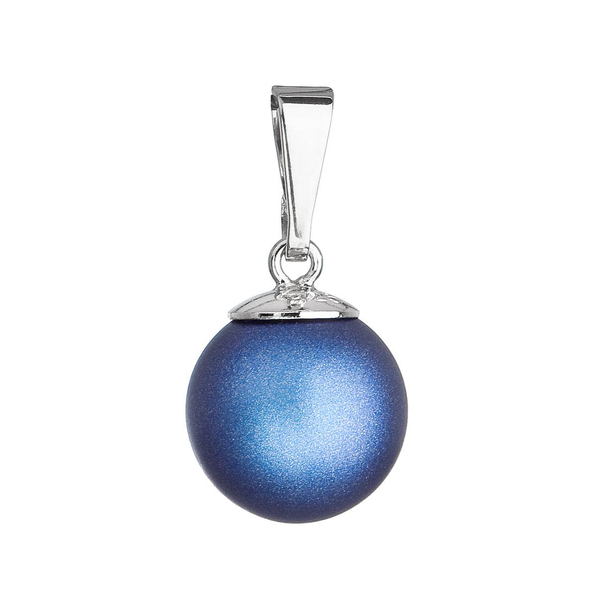 Evolution Group Stříbrný přívěšek s kulatou tmavěmodrou matnou perlou 34150.3