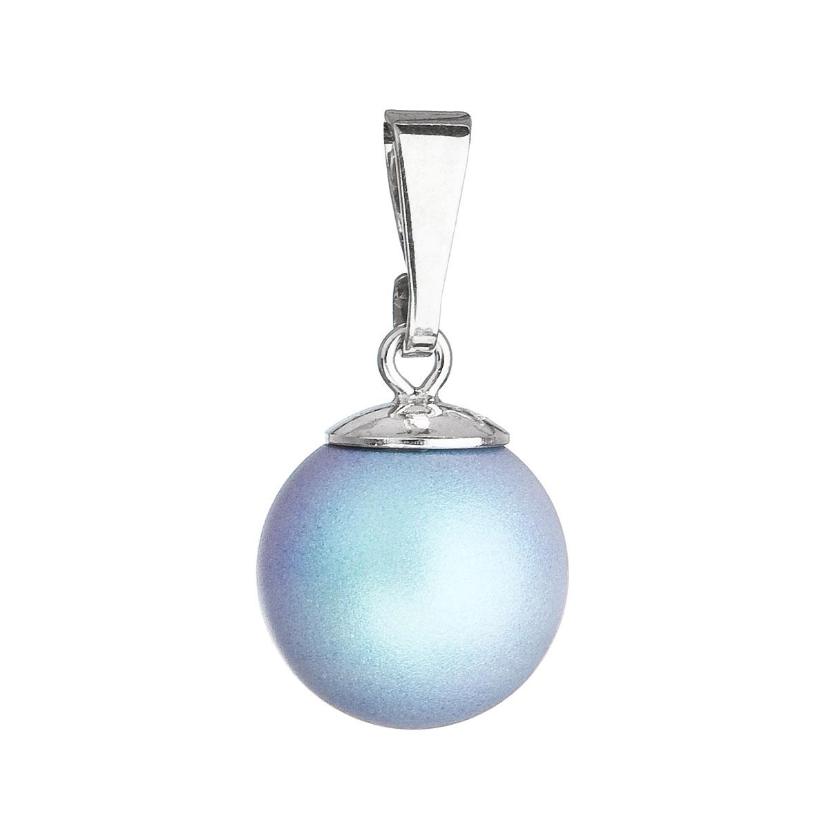 Evolution Group Stříbrný přívěšek s kulatou světlemodrou matnou perlou 34150.3
