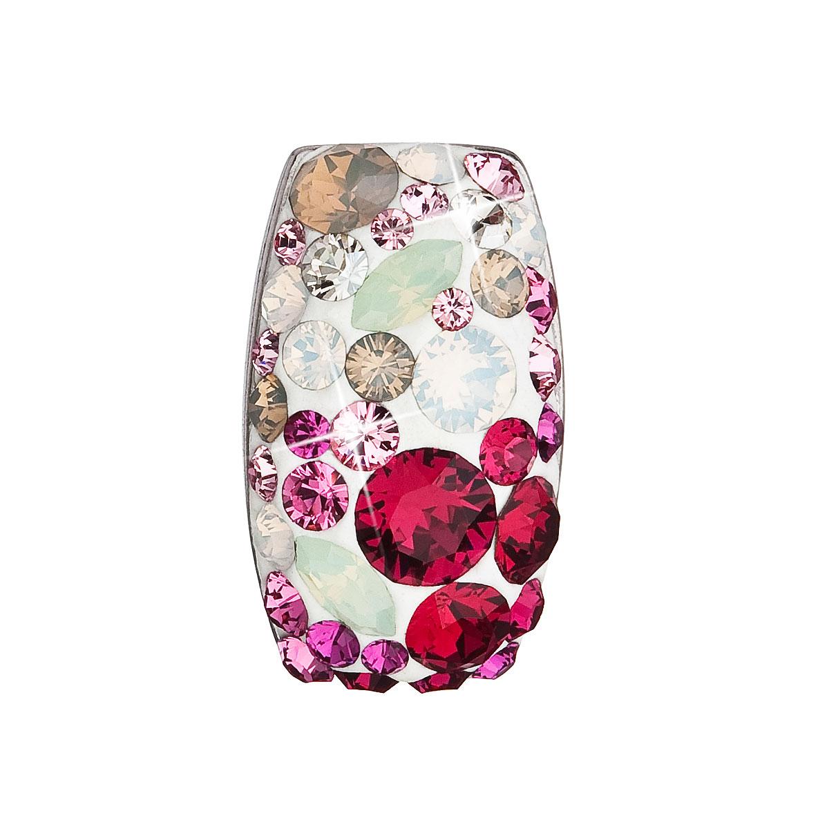 Evolution Group Stříbrný přívěsek s krystaly Swarovski mix barev obdélník 34194.3 sweet love
