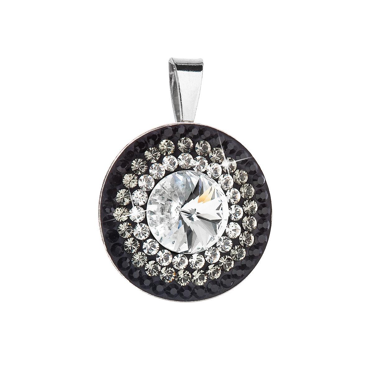 Evolution Group Stříbrný přívěsek s krystaly Swarovski bílá-černé kulatý-rivoli 34207.3