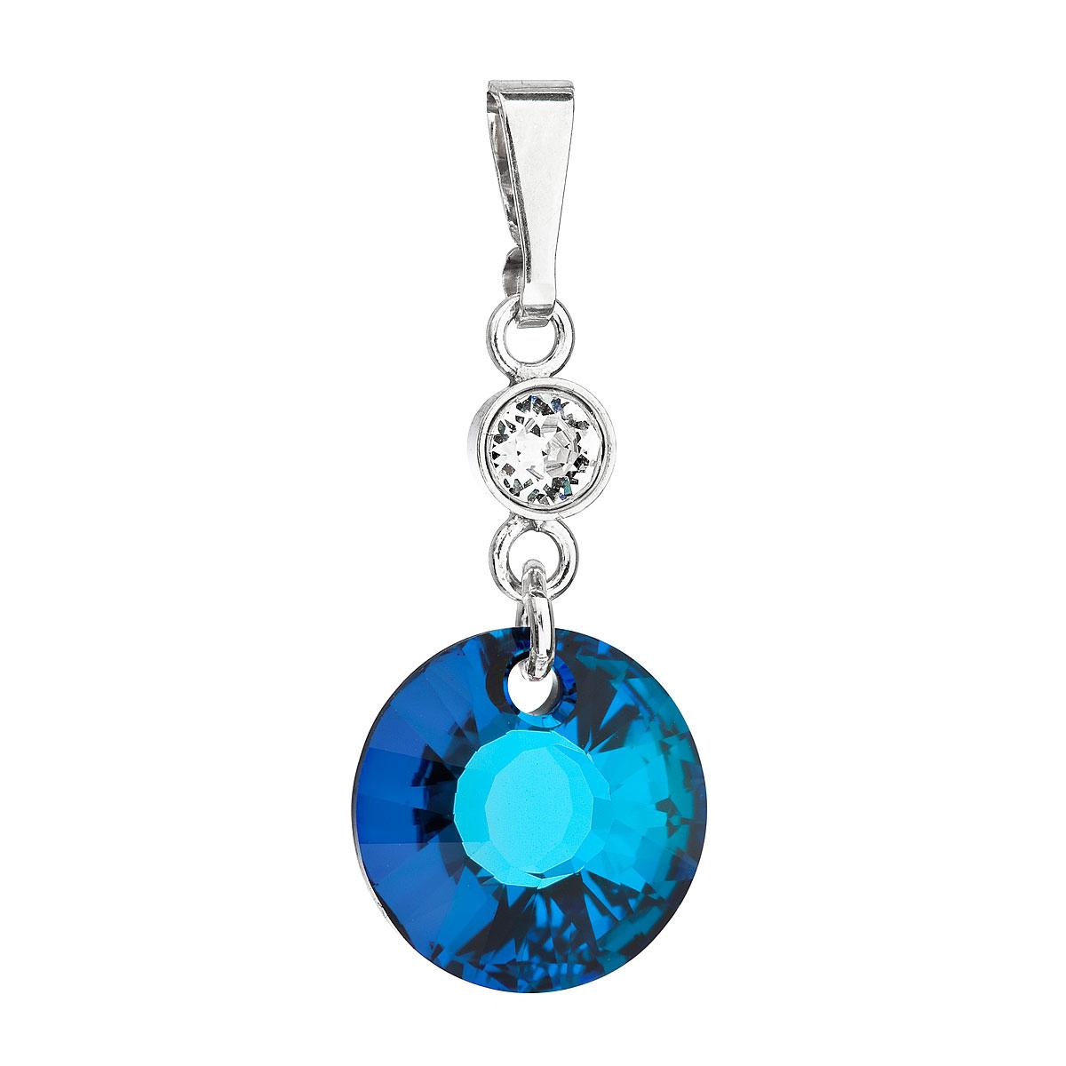 Evolution Group Stříbrný přívěsek s krystaly Swarovski modrý kulatý 34216.5