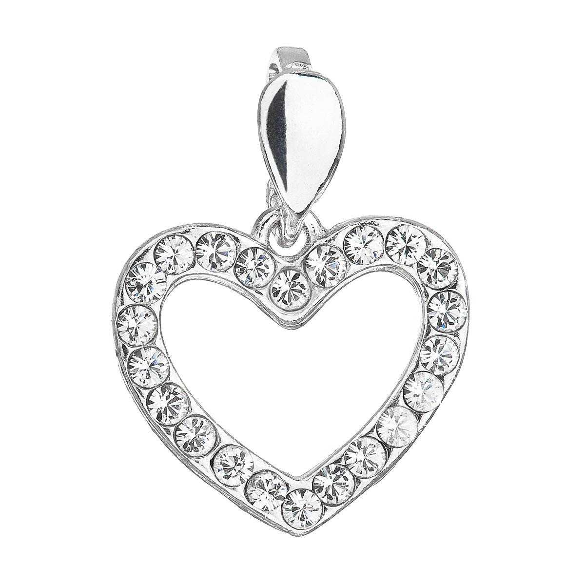 Evolution Group Stříbrný přívěsek s krystaly Swarovski bílé srdce 34219.1