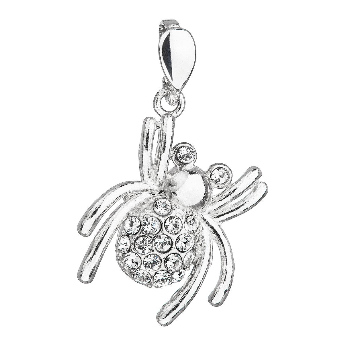 Evolution Group Stříbrný přívěsek s krystaly Swarovski bílý pavouk 34220.1, dárkové balení