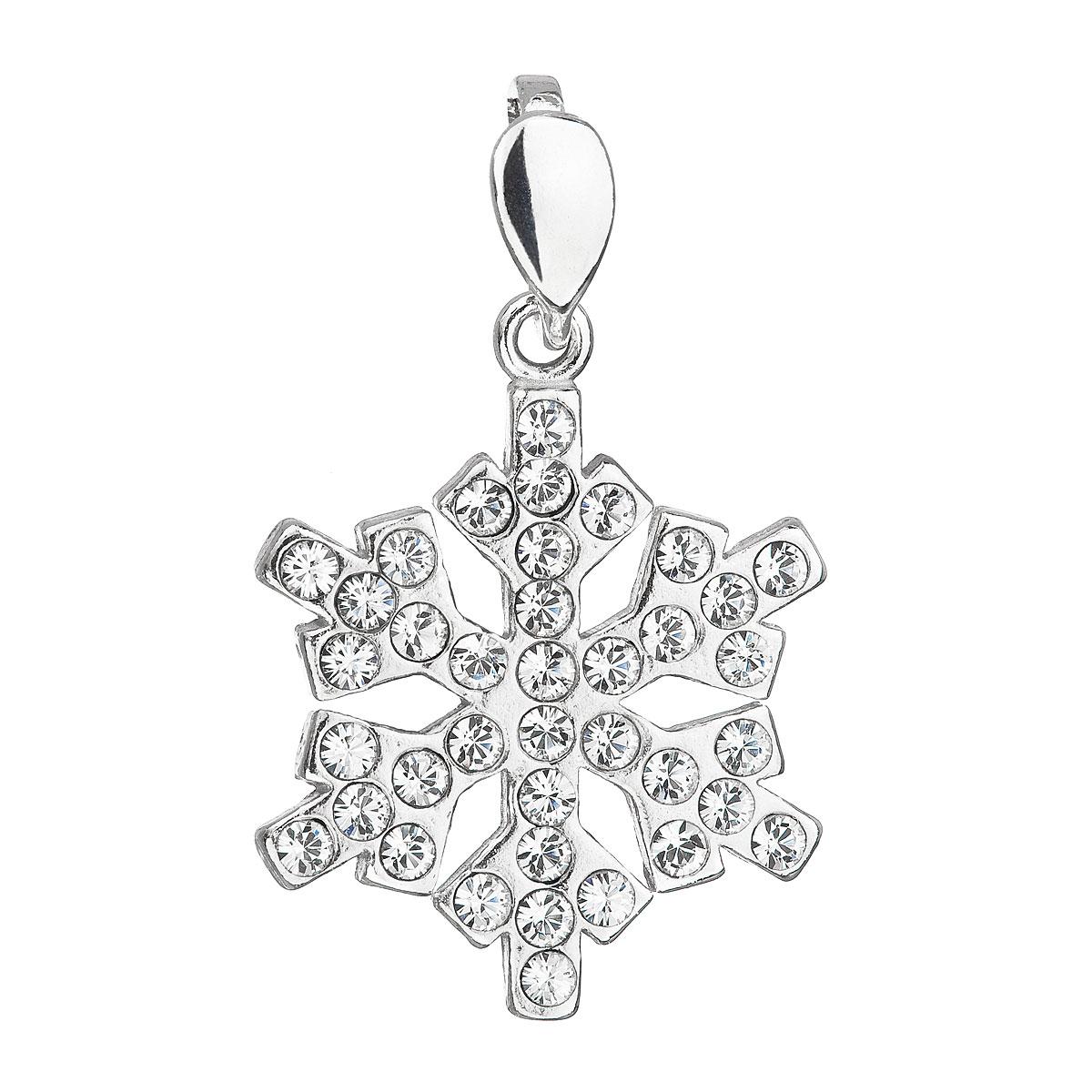 Evolution Group Stříbrný přívěsek s krystaly Swarovski bílá vločka 34221.1
