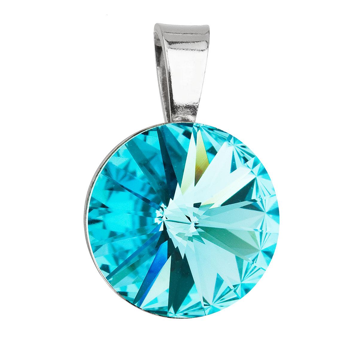 Evolution Group Stříbrný přívěsek s krystaly Swarovski modrý kulatý-rivoli 34112.3 light turquoise