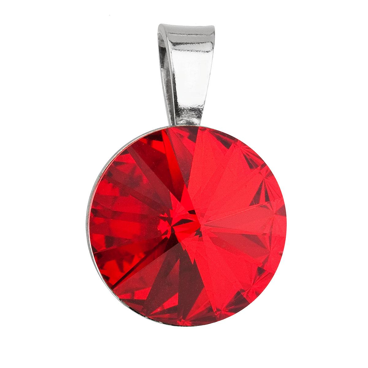 Stříbrný přívěsek s krystaly Swarovski červený kulatý-rivoli 34112.3