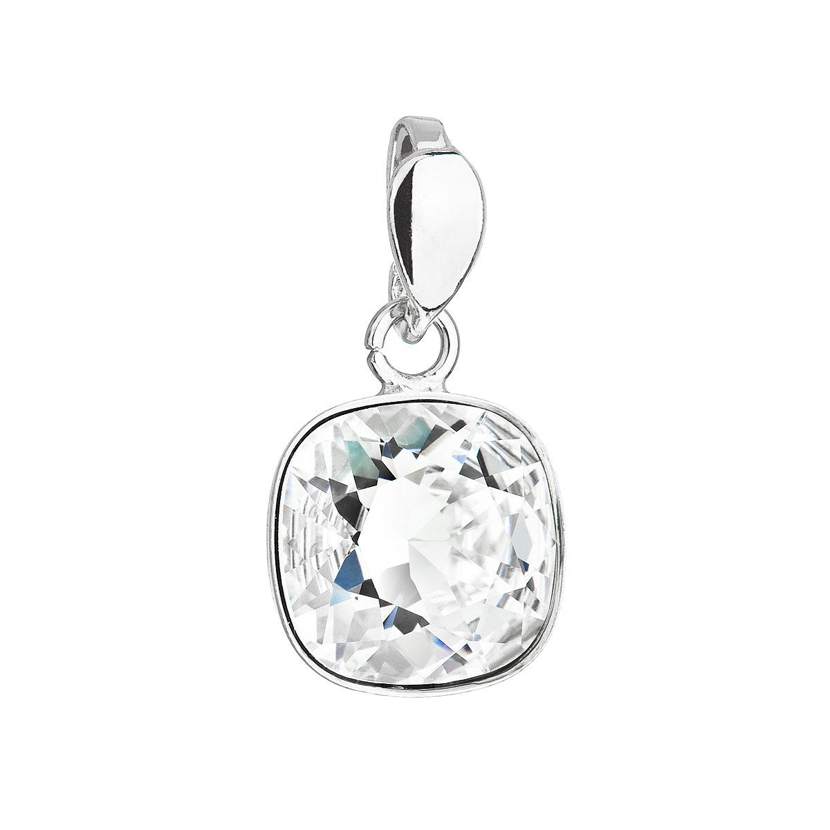 Evolution Group Stříbrný přívěsek s krystalem Swarovski bílý čtverec 34224.1
