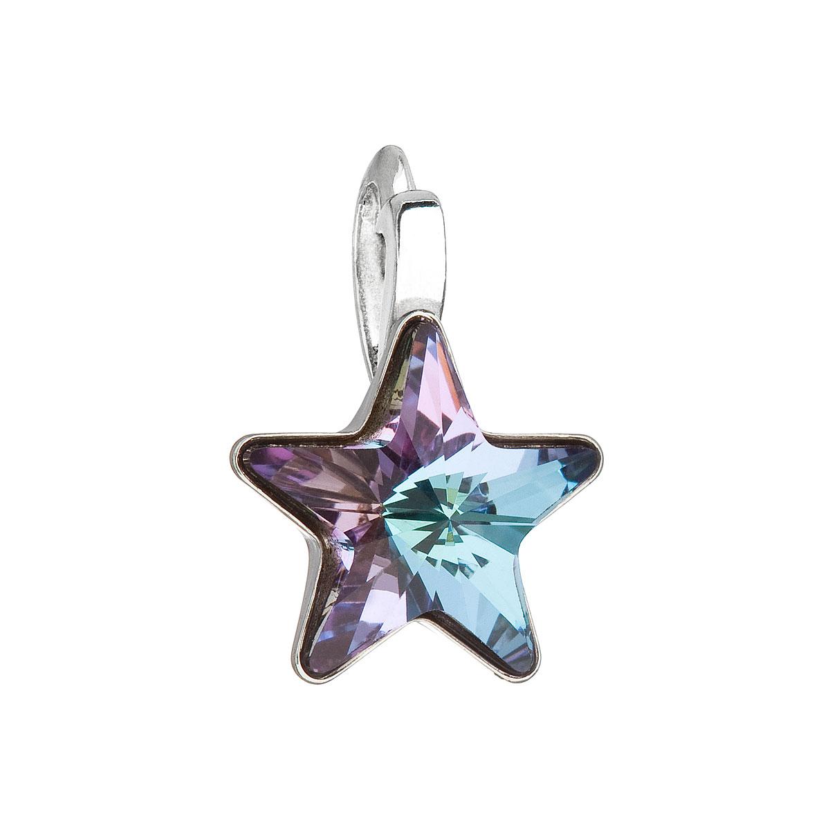 Evolution Group Stříbrný přívěsek s krystalem Swarovski fialová hvězdička 34226.5