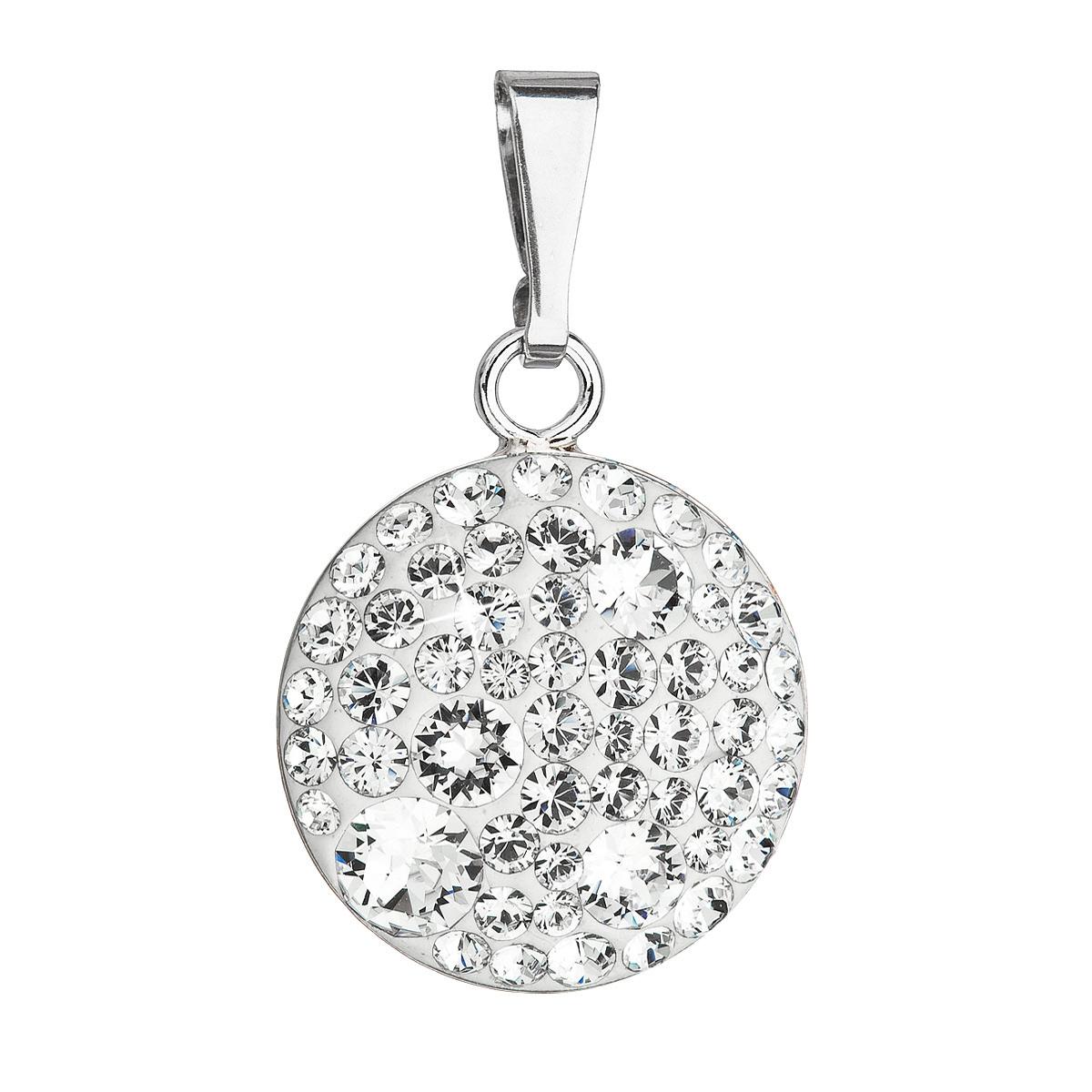 Evolution Group Stříbrný přívěsek s krystaly Swarovski bílý kulatý 34225.1