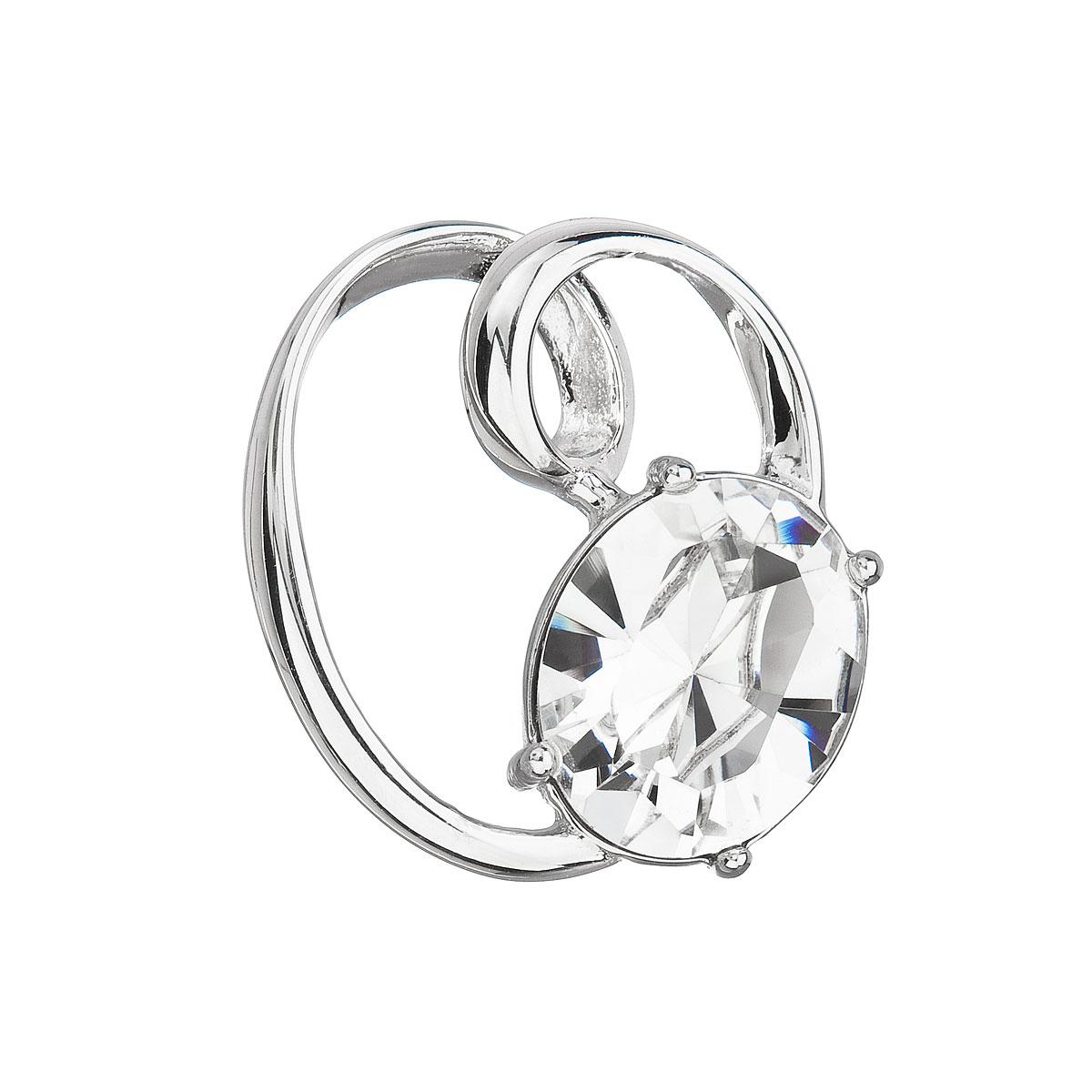 Evolution Group Stříbrný přívěsek s krystalem Swarovski bílý ovál 34228.1