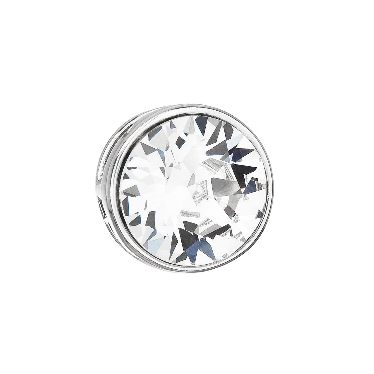 Evolution Group Stříbrný přívěsek s krystalem Swarovski bílý kulatý 34231.1