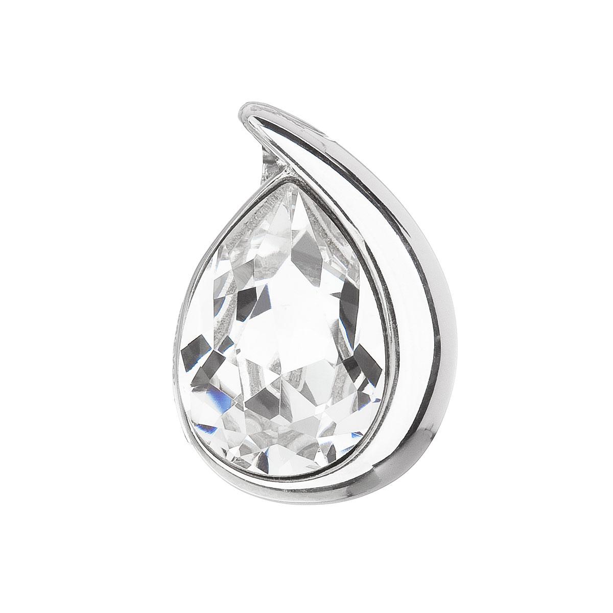 Evolution Group Stříbrný přívěsek s krystalem Swarovski bílá slza 34233.1
