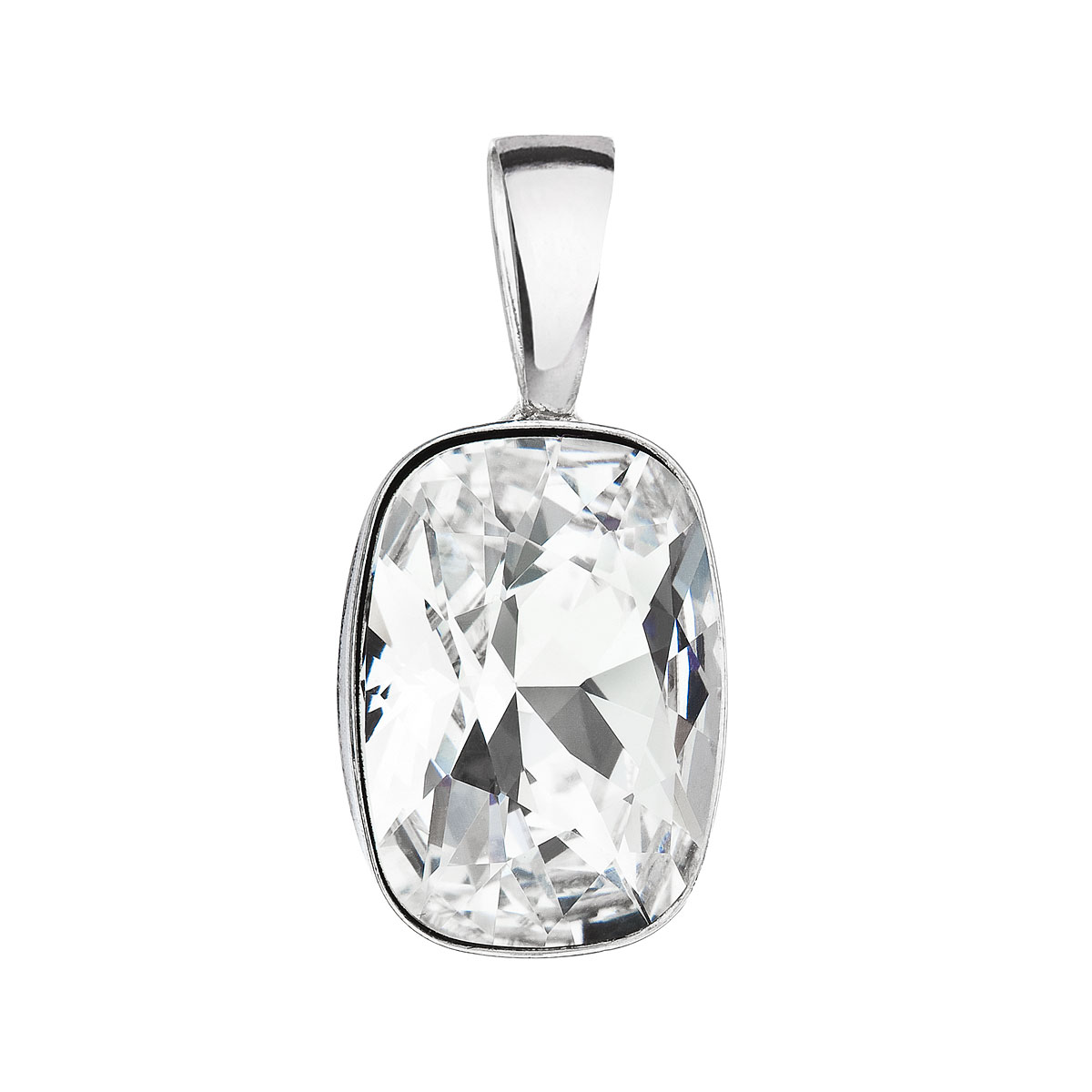 Evolution Group Stříbrný přívěsek s krystaly Swarovski bílý obdélník 34244.1
