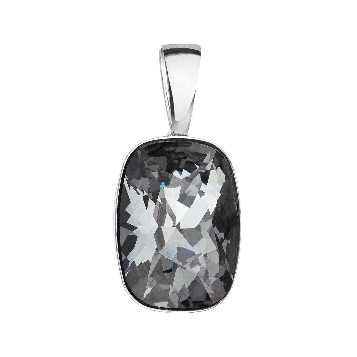 Stříbrný přívěsek s krystaly Swarovski šedý obdélník 34244.5 silver night