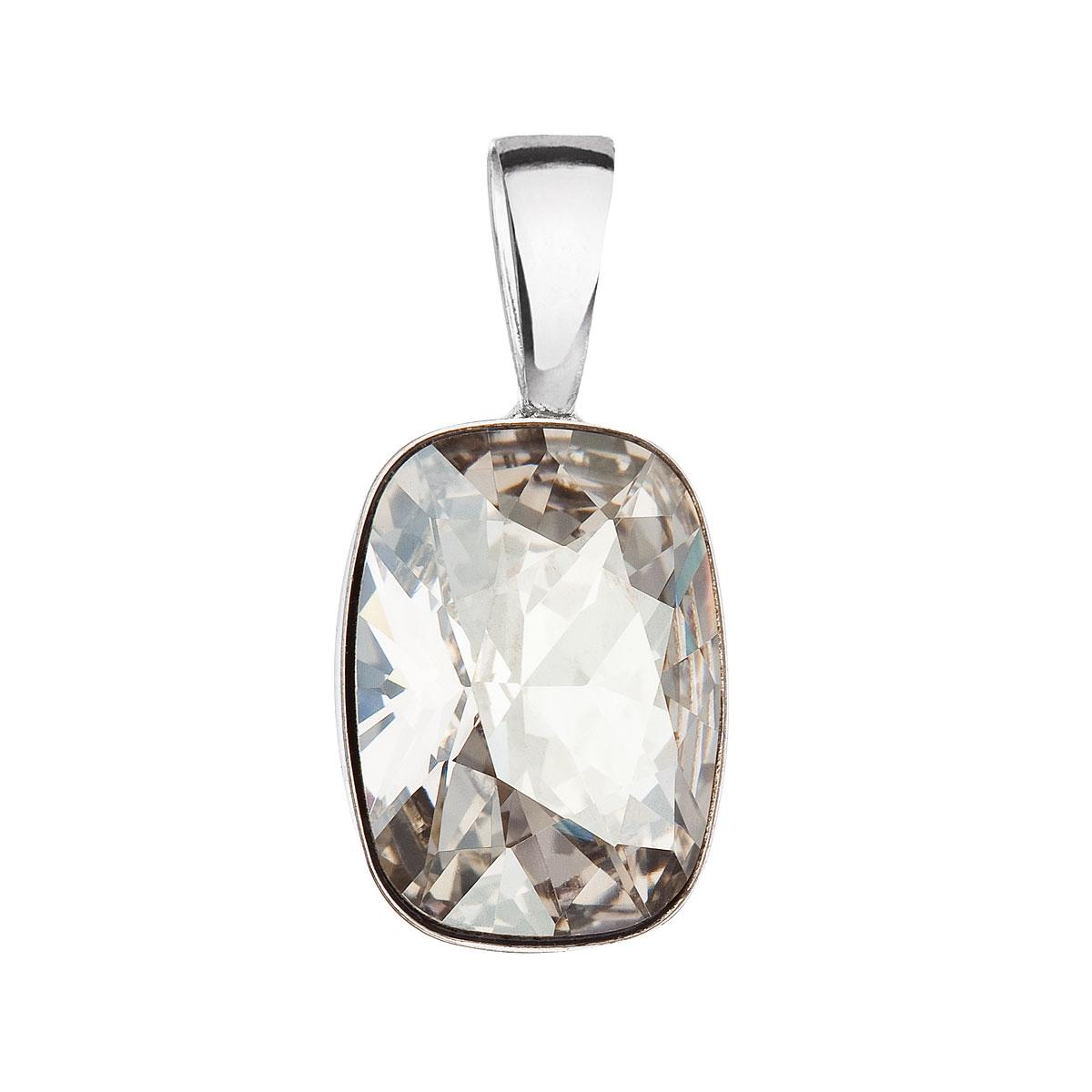 Evolution Group Stříbrný přívěsek s krystaly Swarovski šedý obdélník 34244.5 silver shade