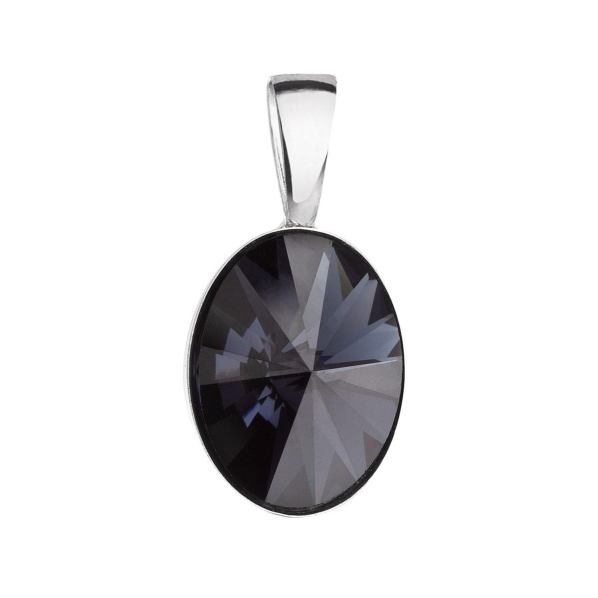 Evolution Group Stříbrný přívěsek s krystalem Swarovski černý ovál 34245.3