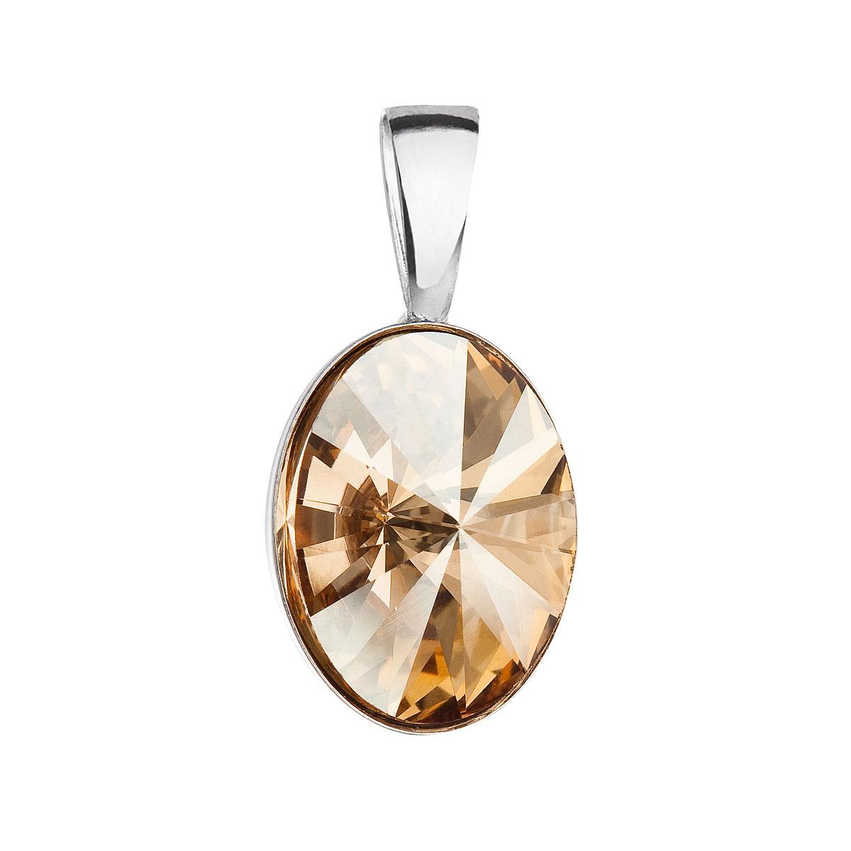 Evolution Group Stříbrný přívěsek s krystalem Swarovski zlatý ovál 34245.5
