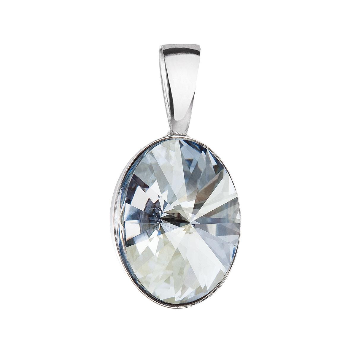 Stříbrný přívěsek s krystalem Swarovski modrý ovál 34245.5