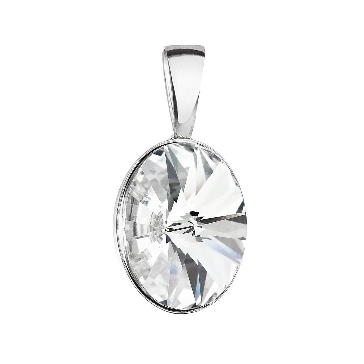 Evolution Group Stříbrný přívěsek s krystalem Swarovski bílý ovál 34245.1
