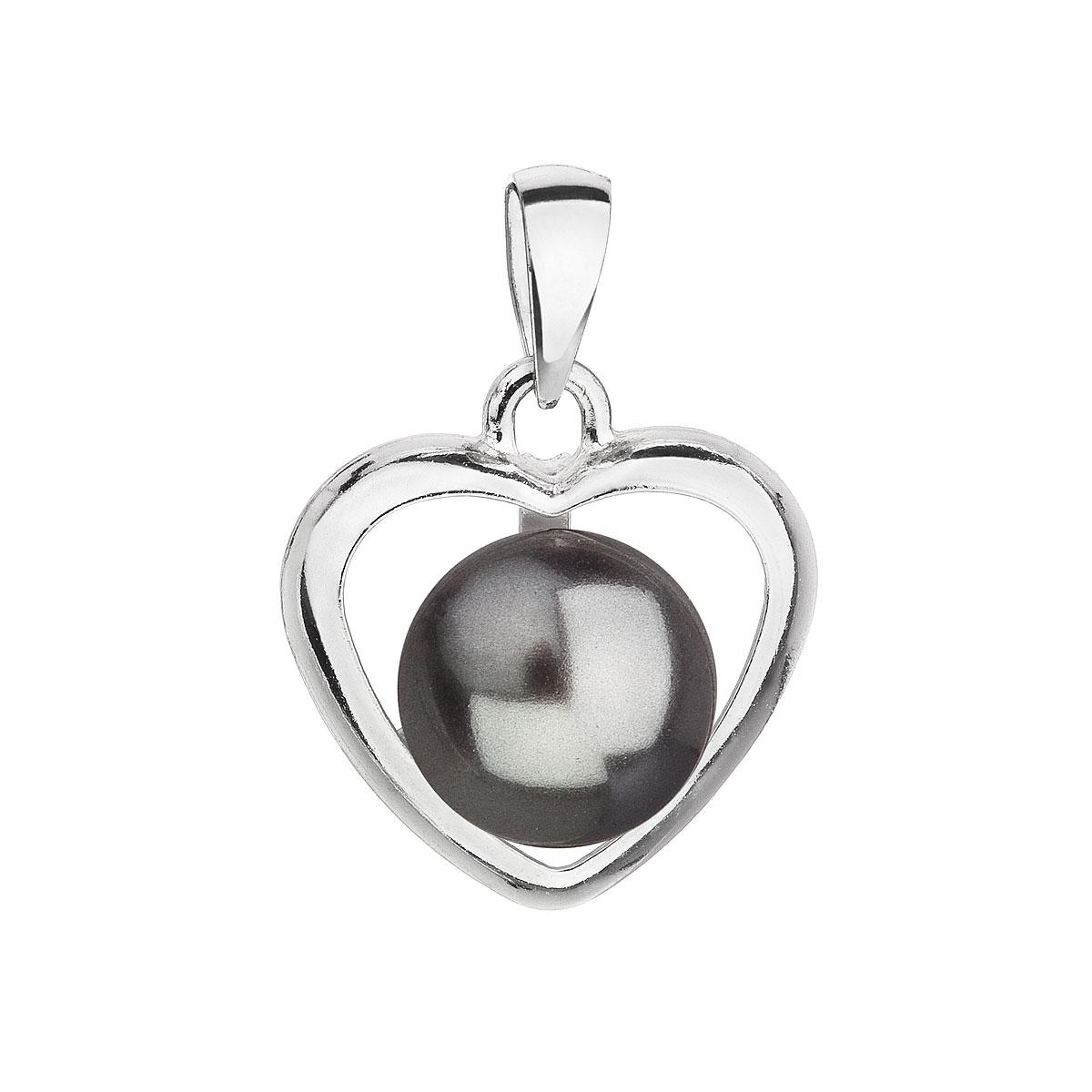 Evolution Group Stříbrný přívěsek s šedou perlou srdce 34246.3
