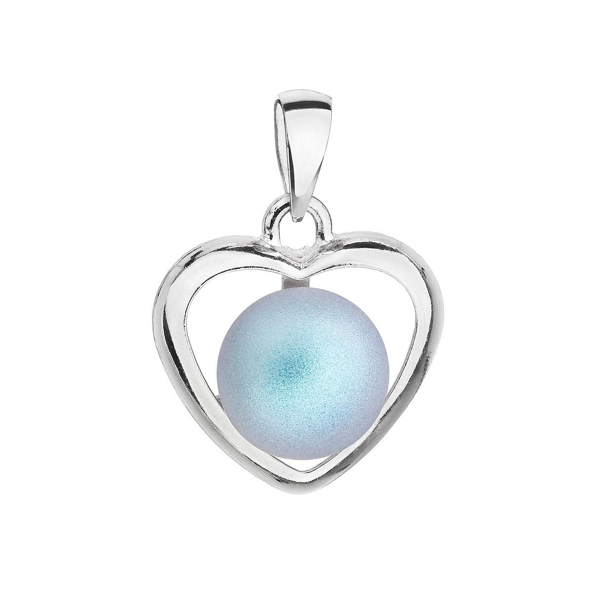 Stříbrný přívěsek se světlemodrou matnou perlou srdce 34246.3
