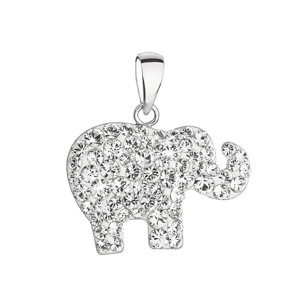 Evolution Group Stříbrný přívěsek s krystaly Swarovski bílý slon 34247.1