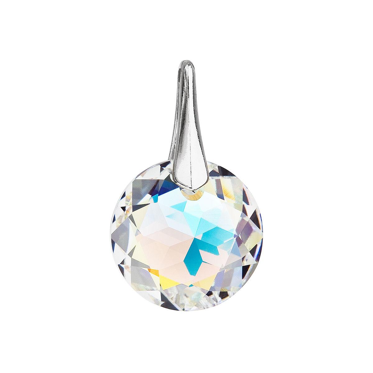 Stříbrný přívěsek s krystaly Swarovski ab efekt kulatý 34253.2