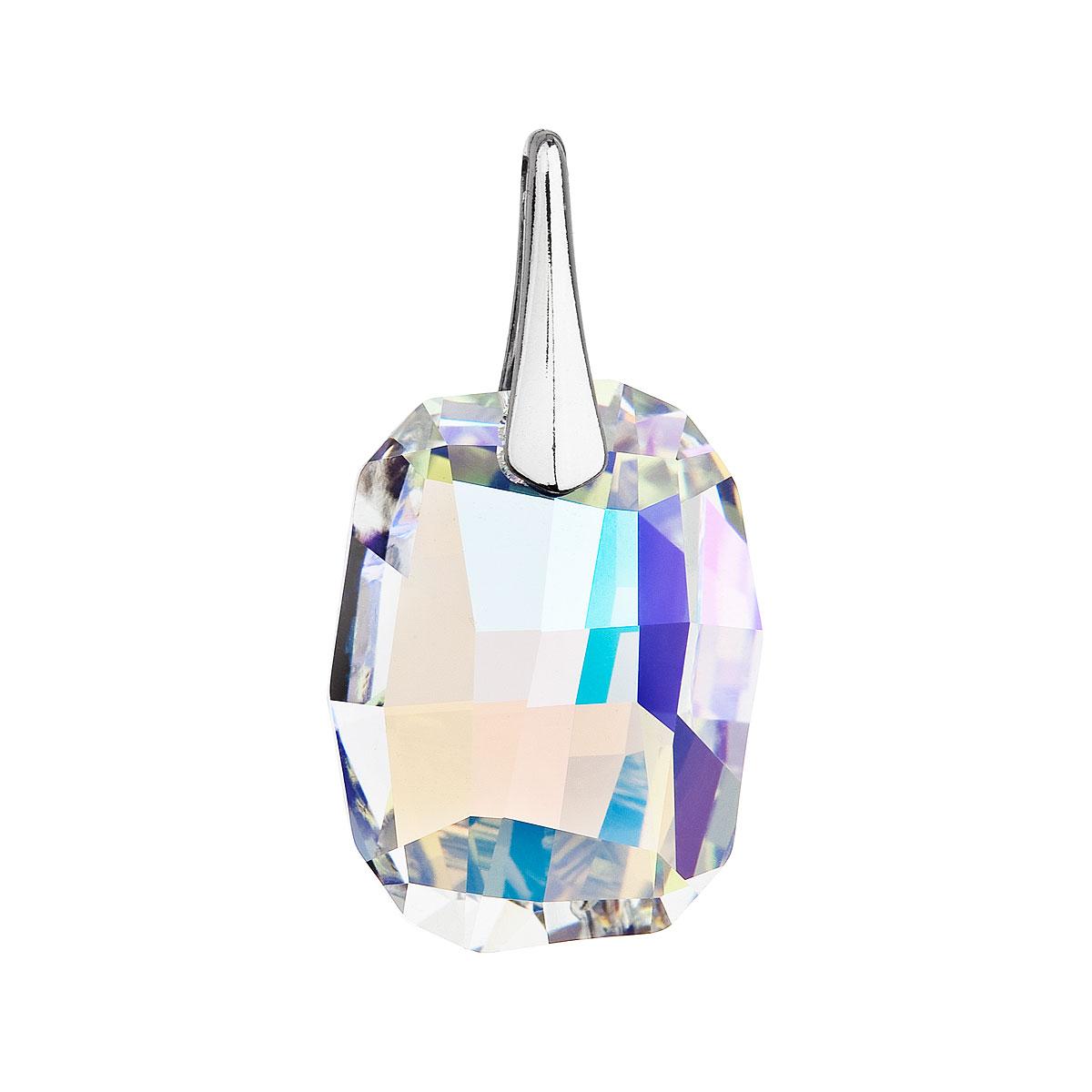 Evolution Group Stříbrný přívěsek s krystaly Swarovski ab efekt obdélník 34254.2