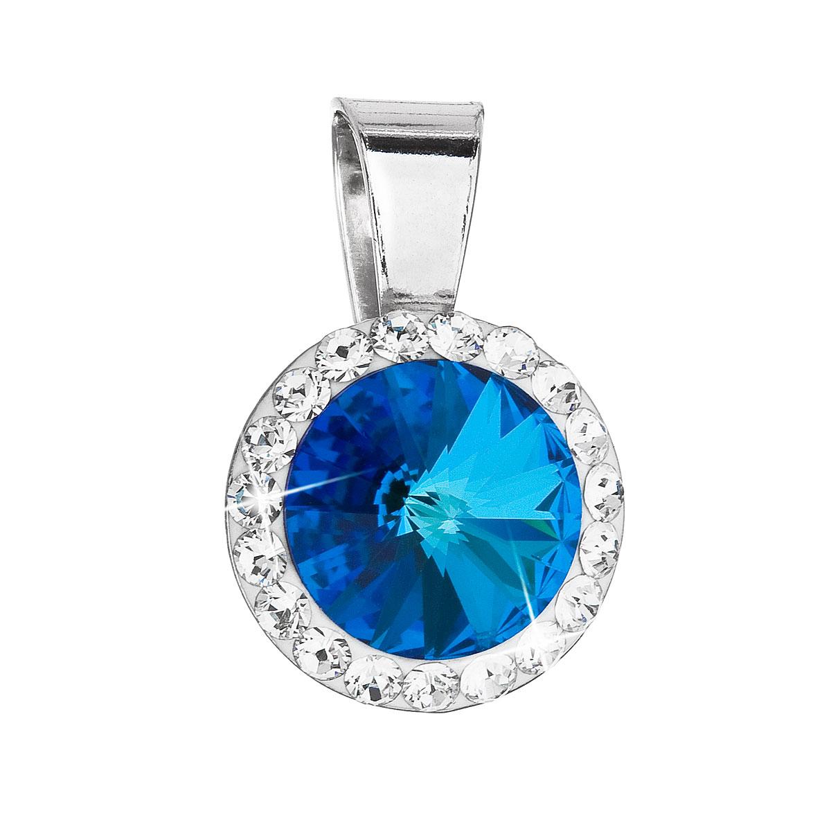 Evolution Group Stříbrný přívěsek s krystaly Swarovski modrý kulatý 34251.5