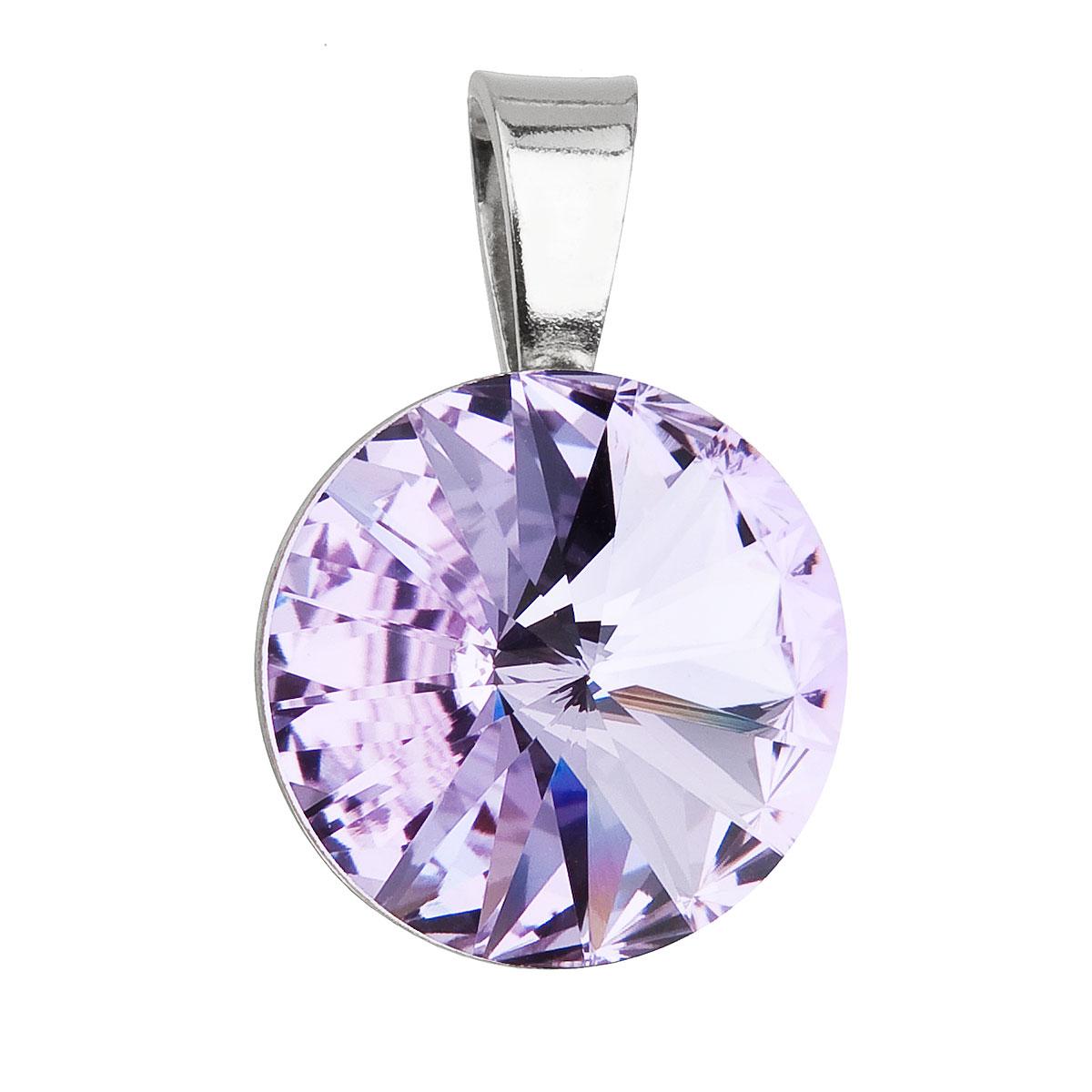Evolution Group Stříbrný přívěsek s krystaly Swarovski fialový kulatý-rivoli 34112.3 violet