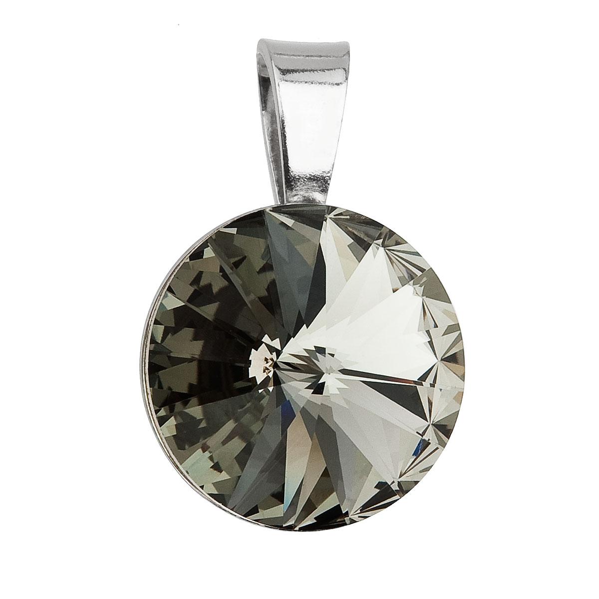 Evolution Group Stříbrný přívěsek s krystaly Swarovski šedý kulatý-rivoli 34112.3