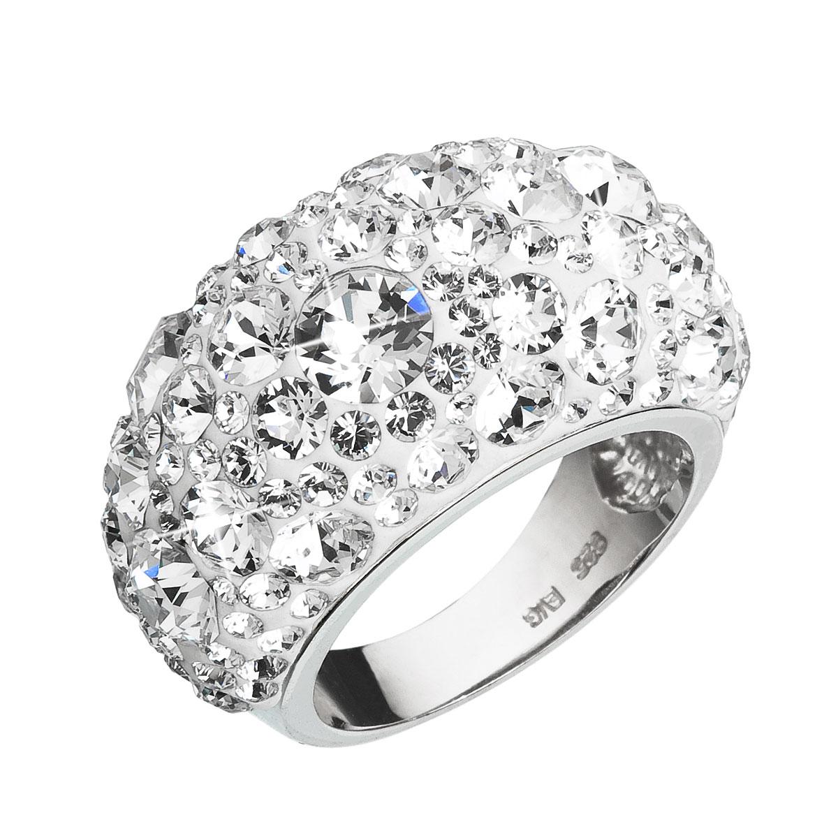 Evolution Group Stříbrný prsten s krystaly Swarovski bílý 35028.1, dárkové balení