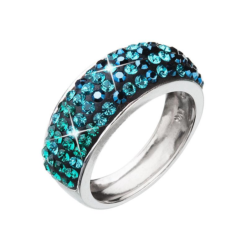 Levně Evolution Group Stříbrný prsten s krystaly mix barev zelený 35027.3 magic green