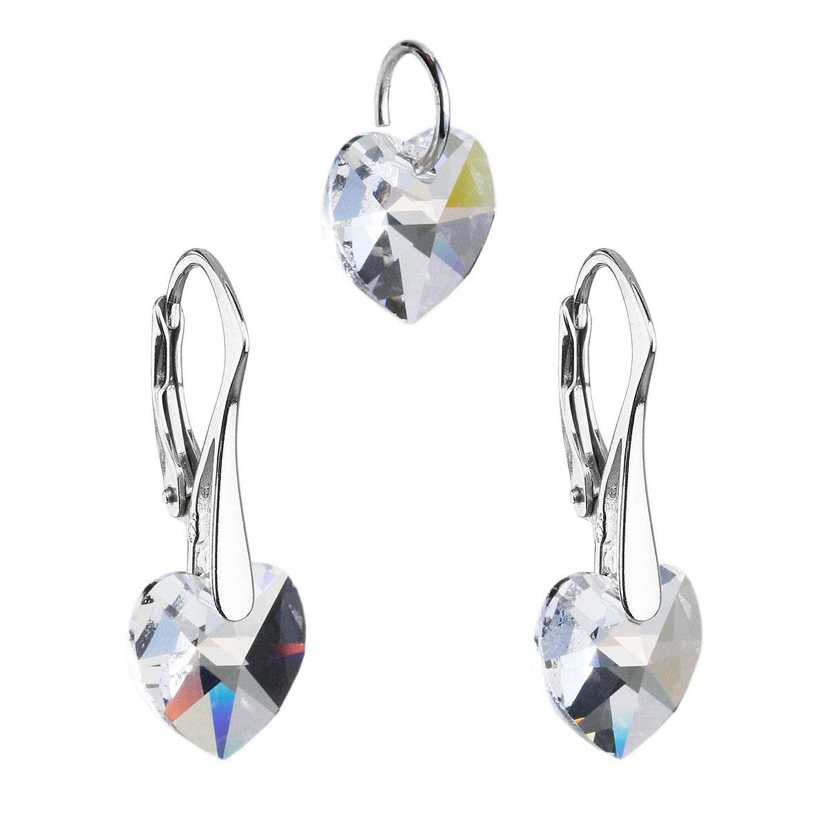 Evolution Group Sada šperků s krystaly Swarovski náušnice a přívěsek bílá srdce 39003.1