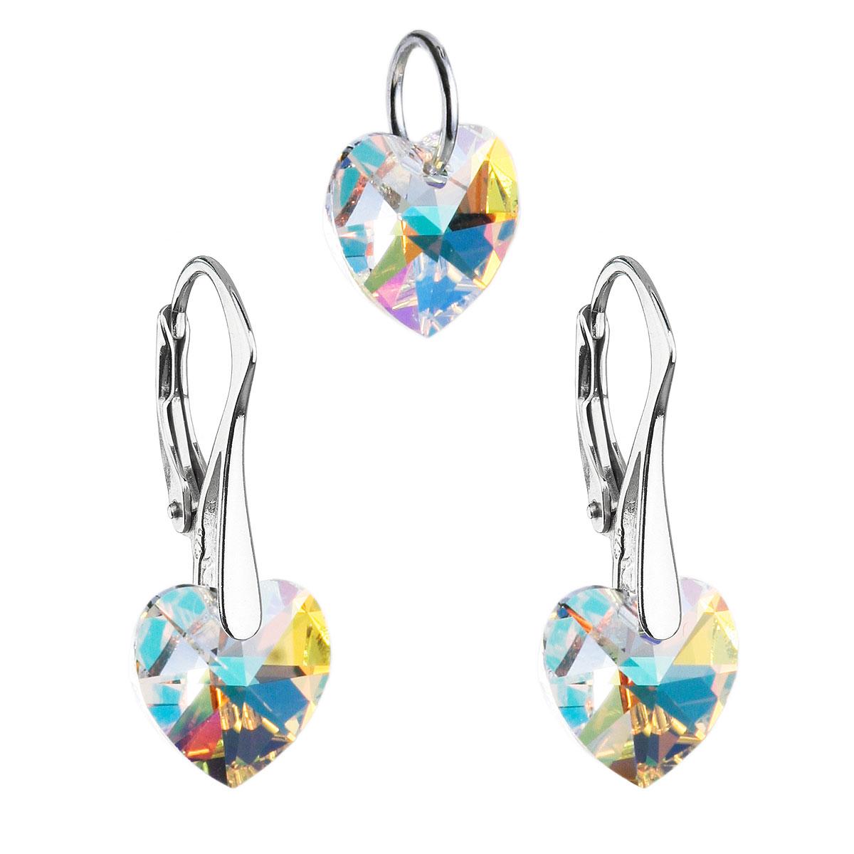 Sada šperků s krystaly Swarovski náušnice a přívěsek AB efekt srdce 39003.2