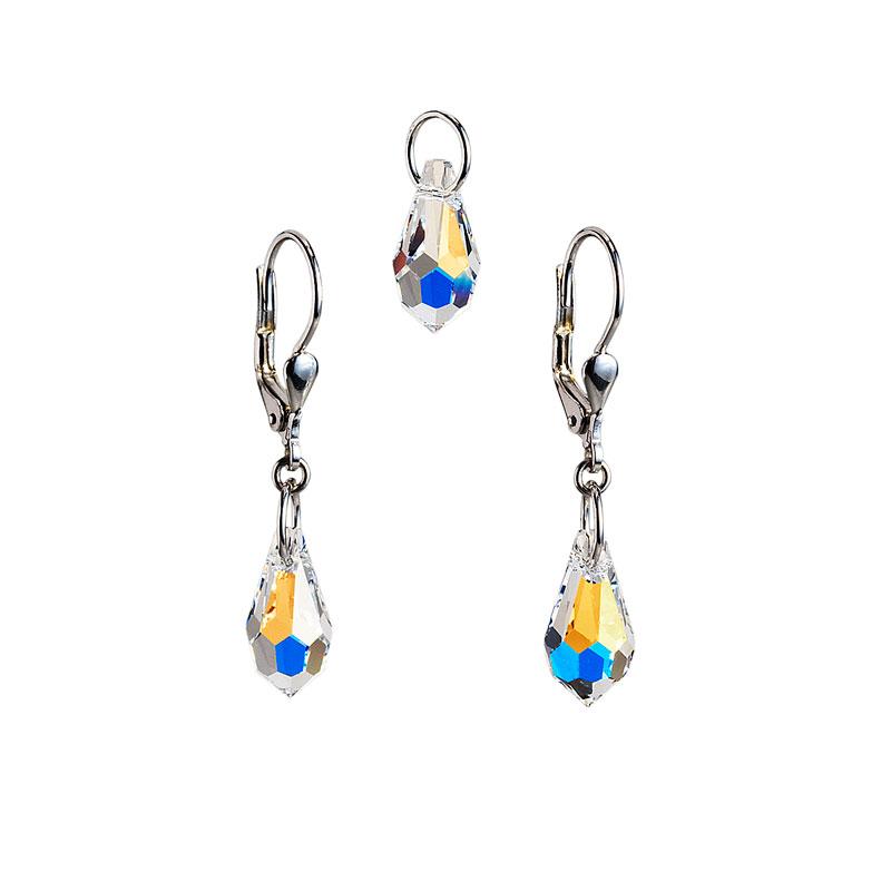 Sada šperků s krystaly Swarovski náušnice a přívěsek AB efekt slza 39029.2