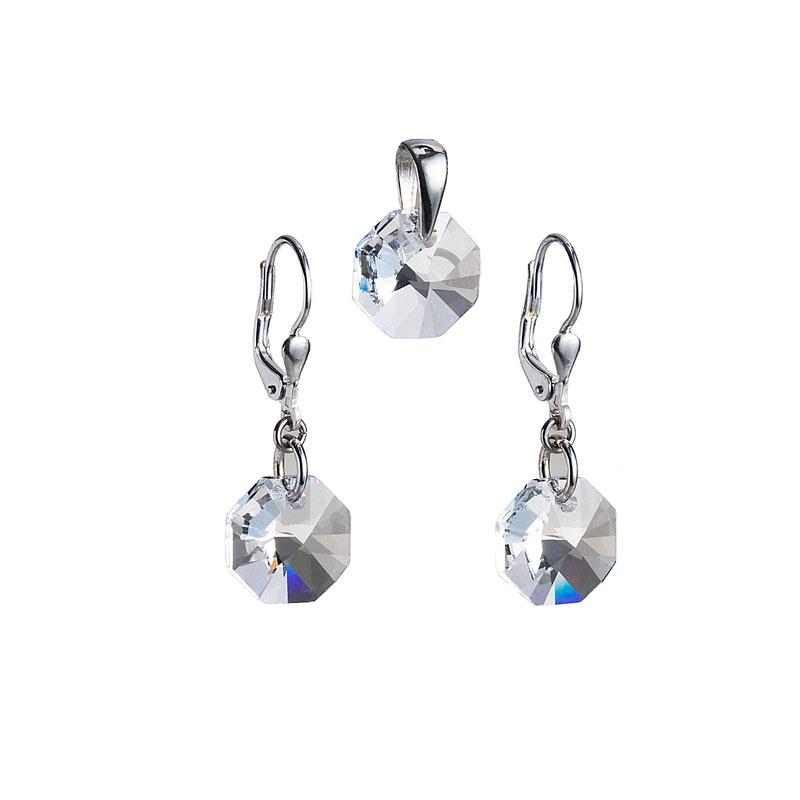 Sada šperků s krystaly Swarovski náušnice a přívěsek bílé kulaté 39055.1
