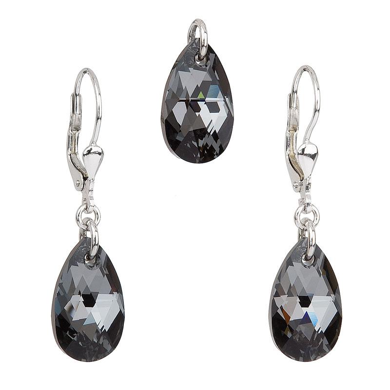Sada šperků s krystaly Swarovski náušnice a přívěsek šedá slza 39019.5