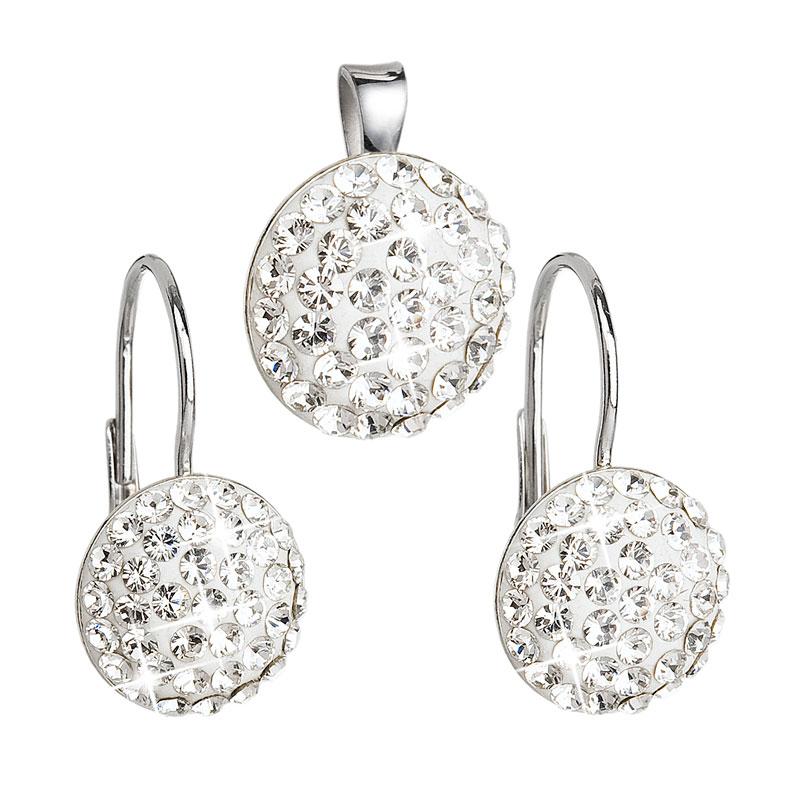 Evolution Group Sada šperků s krystaly Swarovski náušnice a přívěsek bílé kulaté 39086.1