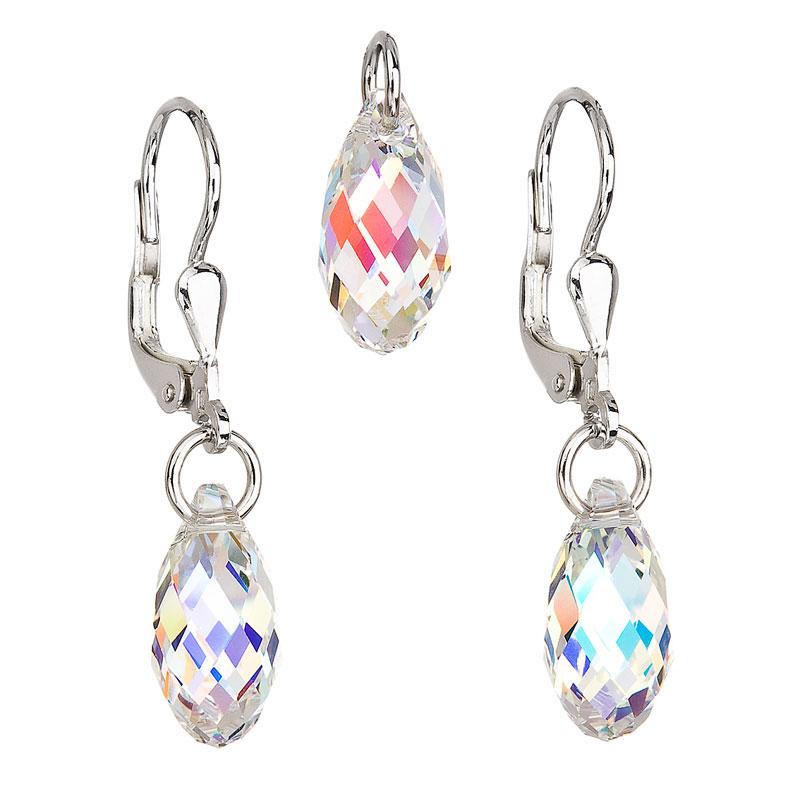 Sada šperků s krystaly Swarovski náušnice a přívěsek ab efekt slza 39089.2