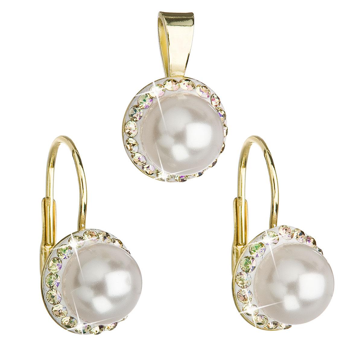 Sada šperků s krystaly Swarovski náušnice a přívěsek bílá perla kulaté 39091.6