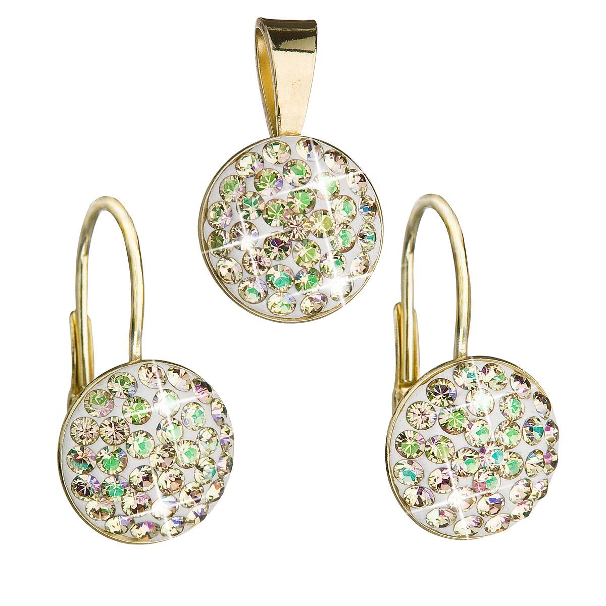 Evolution Group Sada šperků s krystaly Swarovski náušnice a přívěsek zlaté kulaté 39086.6, dárkové balení