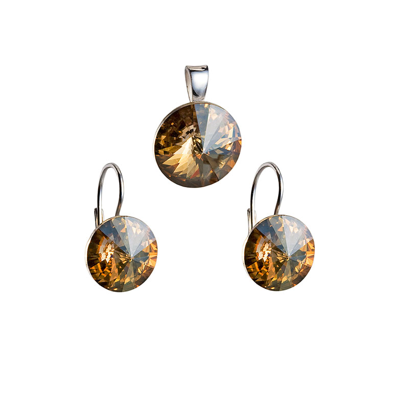 Sada šperků s krystaly náušnice a přívěsek zlaté kulaté 39012.5