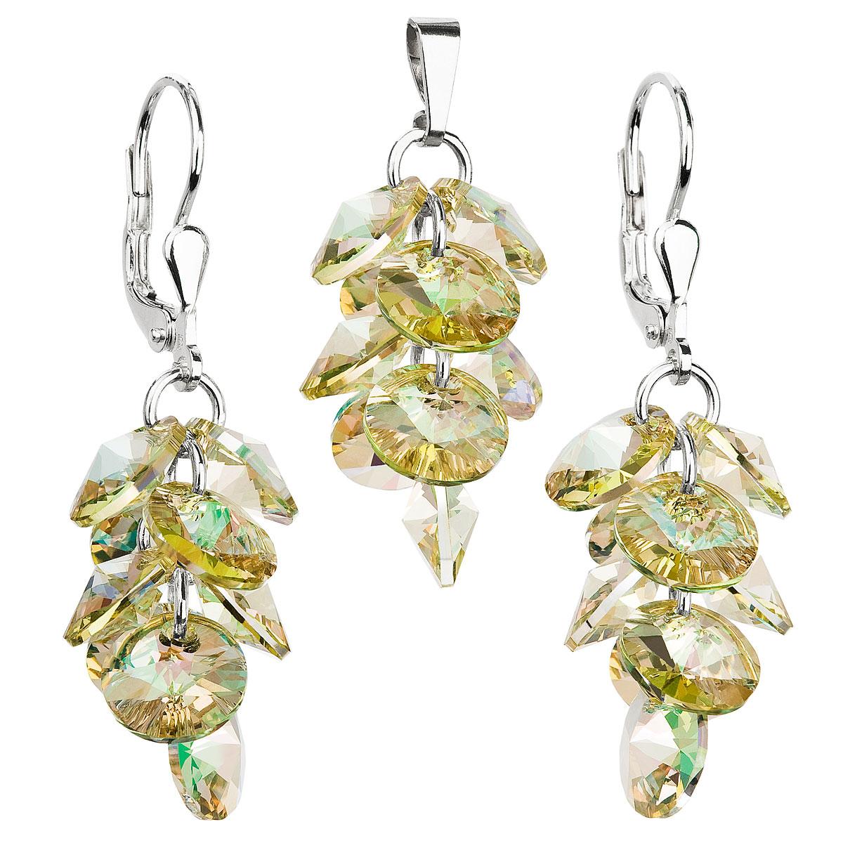 Sada šperků s krystaly Swarovski náušnice a přívěsek zlatý hrozen 39104.6